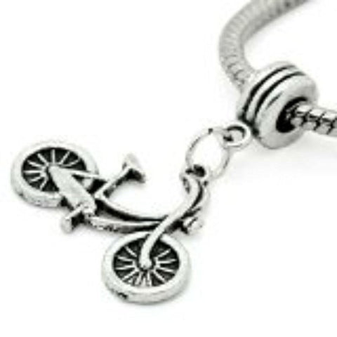 Silver Tone Bicycle Dangle Spacer Beads For Snake Chain Charm Bracelet - Sexy Sparkles Fashion Jewelry - 1