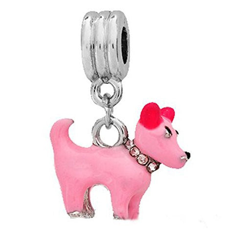 Beautiful 3D Pink Enamel Dog W/Pink  Rhinestone Collar Dangle European Bead Compatible for Most European Snake Chain Charm Bracelet - Sexy Sparkles Fashion Jewelry - 1