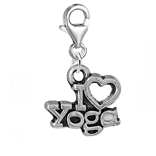 Clip on I Love Yoga Charm Pendant for Chains or Any Other Item on Which You Can Clip on the Lobster Clasp