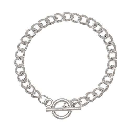 "Iron Alloy Double Curb Chain Toggle Clasp Bracelets Silver Tone 20.0cm(7 7/8"")"