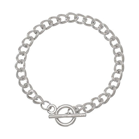 "Iron Alloy Double Curb Chain Toggle Clasp Bracelets Silver Tone 20.0cm(7 7/8"") - Sexy Sparkles Fashion Jewelry - 1"