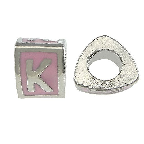 """K"" Letter Triangle Charm Beads Pink Spacer for Snake Chain Charm Bracelet"