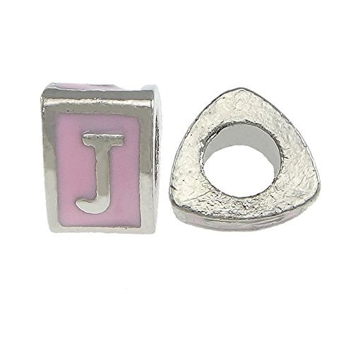 """J"" Letter Triangle Charm Beads Pink Spacer for Snake Chain Charm Bracelet"