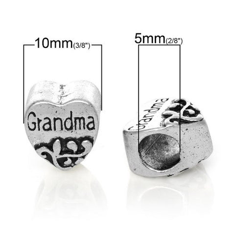 Grandma Heart Bead European Bead Compatible for Most European Snake Chain Charm Braceletss - Sexy Sparkles Fashion Jewelry - 2