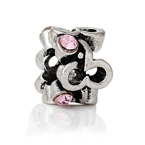Beautiful Mothes Day Pink Crystal Charm Spacer European Bead Compatible for Most European Snake Chain Bracelet