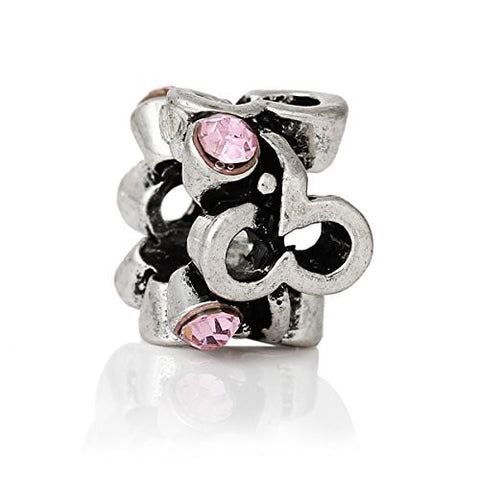 Beautiful Mothes Day Pink Crystal Charm Spacer European Bead Compatible for Most European Snake Chain Bracelet - Sexy Sparkles Fashion Jewelry - 1