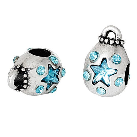 Money Bag With Blue Crystals Charm Bead Spacer for European Snake Chain Charm Bracelets - Sexy Sparkles Fashion Jewelry - 2