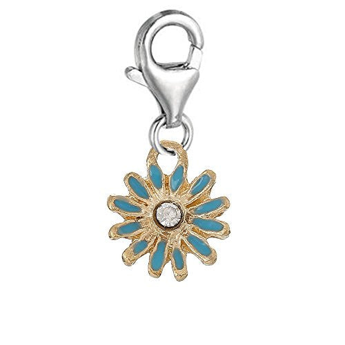 Clip on Blue Daisy Flower Silver Tone Charm Pendant for European Jewelry w/ Lobster Clasp