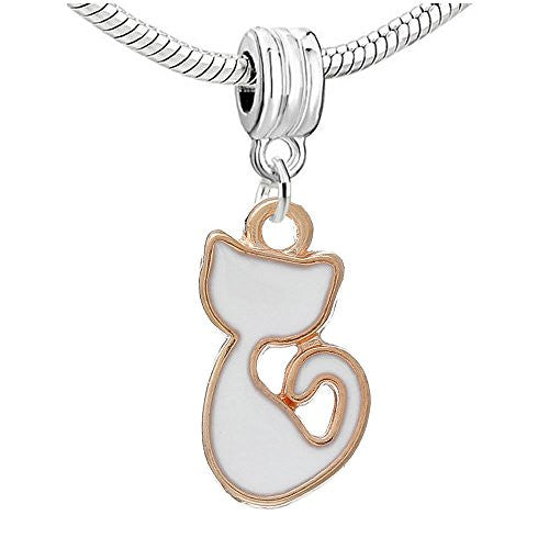 Cat Charm Dangle Bead Compatible with European Snake Chain Charm Bracelets