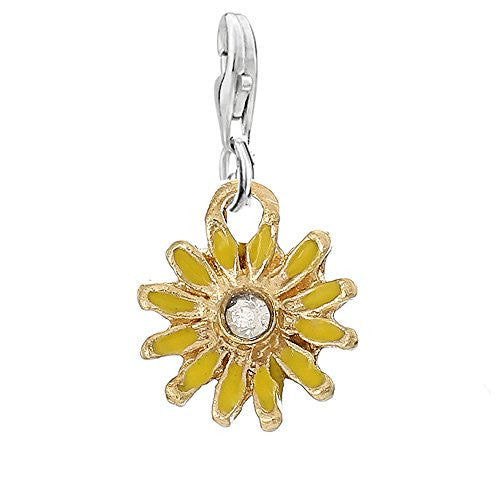 Clip on Yellow Daisy Flower Silver Tone Charm Pendant for European Jewelry w/ Lobster Clasp