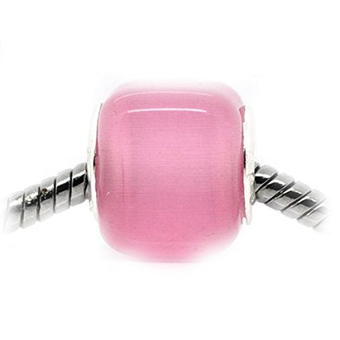Pink Cats Eye Glass Cube European Bead Compatible for Most European Snake Chain Bracelet - Sexy Sparkles Fashion Jewelry - 1