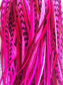 6 Feathers 4 -6 Natural Mix with Hot Pink and Grizzly for Hair Extension - Sexy Sparkles Fashion Jewelry