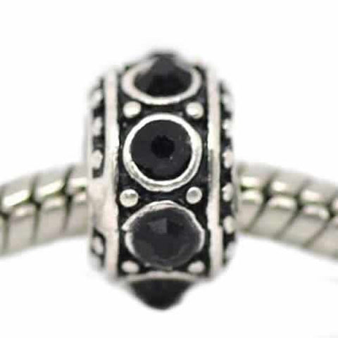 Black Crystals Spacer Bead Charm for Snake Chain Bracelet - Sexy Sparkles Fashion Jewelry - 4