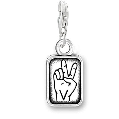 "Sign Language Charm Pendant for Bracelets or Necklaces ""V"""