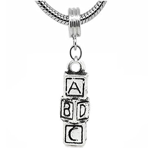 ABCD Block Charm Dangle European Bead Compatible for Most European Snake Chain Bracelet