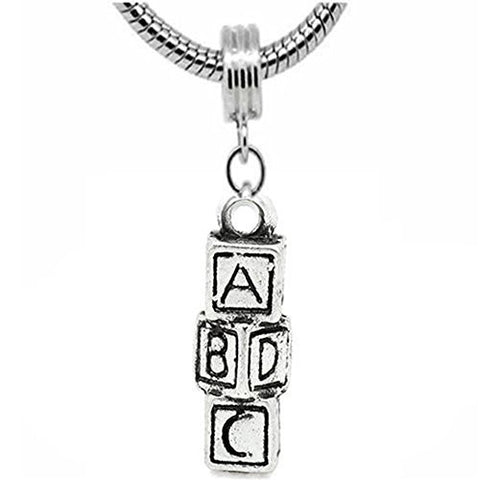 ABCD Block Charm Dangle European Bead Compatible for Most European Snake Chain Bracelet - Sexy Sparkles Fashion Jewelry - 1