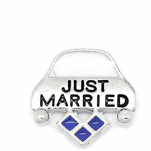 """Just Married""Floating Charms For Glass Living Memory Lockets - Sexy Sparkles Fashion Jewelry - 1"