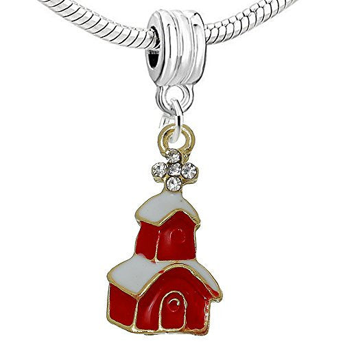 Christmas Village Dangle Charm Bead for European Snake Chain Charm Bracelet
