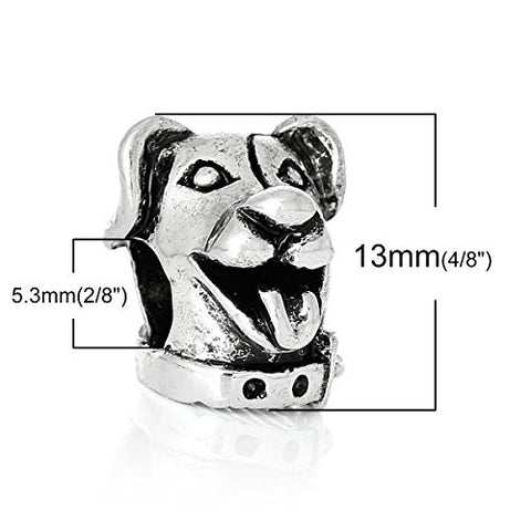Cute Dog Head Charm Bead for European Snake Chain Charm Bracelet - Sexy Sparkles Fashion Jewelry - 2