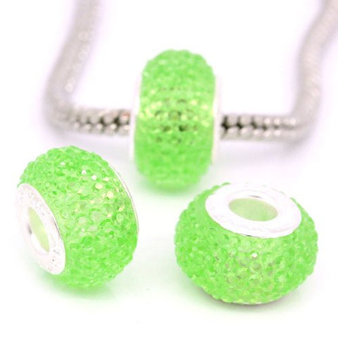Green Glitter Charm fits European Snake Chain Charm Bracelets - Sexy Sparkles Fashion Jewelry - 2