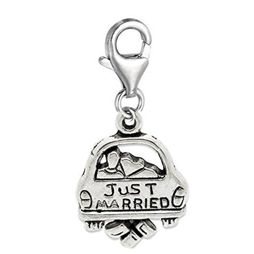 Clip on Just Married Charm Pendant for European Jewelry w/ Lobster Clasp