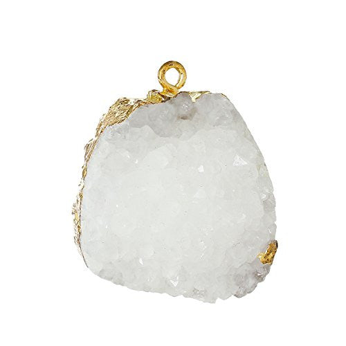 (Grade A) Natural Agate Druzy /Drusy Charm Pendant (White) - Sexy Sparkles Fashion Jewelry - 1