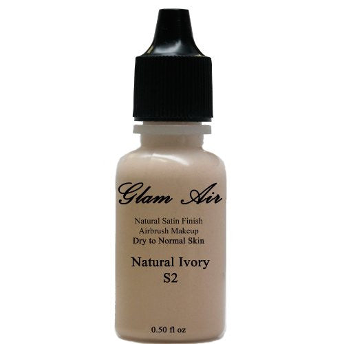 Large Bottle Airbrush Makeup Foundation Satin S2 Natural Ivory Water-based Makeup Lasting All Day 0.50 Oz Bottle By Glam Air - Sexy Sparkles Fashion Jewelry - 1
