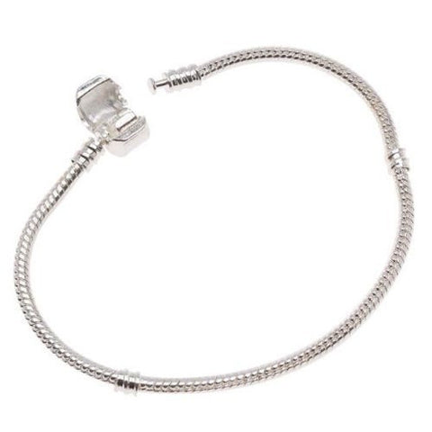 8.5 Inches Snake Chain Bead Barrel Clasp European Bracelet fits European Charms - Sexy Sparkles Fashion Jewelry - 3