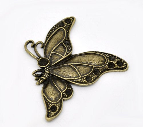 Antique Bronze Plated Base Butterfly Pendant for Necklace - Sexy Sparkles Fashion Jewelry - 1