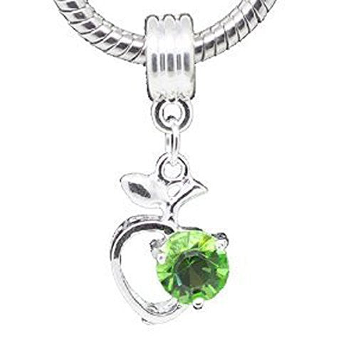 Green Rhinestone Apple Heart Dangle Bead Compatible for Most European Snake Chain Braceletfor Snake Chain Bracelet