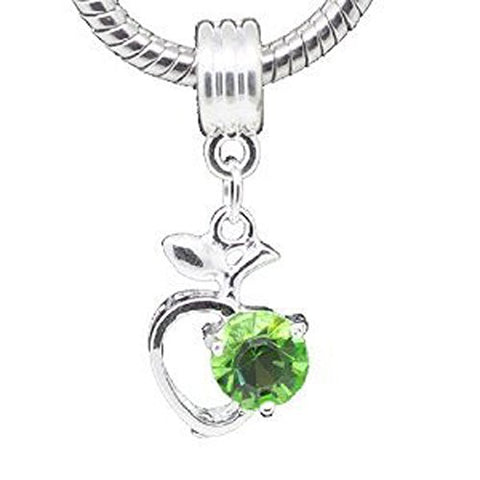 Green Rhinestone Apple Heart Dangle Bead Compatible for Most European Snake Chain Braceletfor Snake Chain Bracelet - Sexy Sparkles Fashion Jewelry - 1