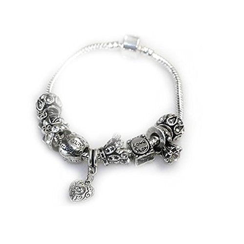 "6.0"" Love Story Charm Bracelet Pandora Style, Snake chain bracelet and charms as pictured - Sexy Sparkles Fashion Jewelry - 1"