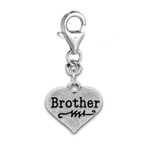 Clip on Brother on Heart Charm Pendant for European Jewelry w/ Lobster Clasp