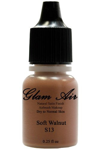 Airbrush Makeup Foundation Satin S13 Soft Walnut Water-based Makeup Lasting All Day 0.25 Oz Bottle - Sexy Sparkles Fashion Jewelry - 1