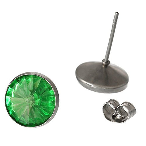 August Birthstone Stainless Steel Post Stud Earrings with  Rhinestone - Sexy Sparkles Fashion Jewelry - 2