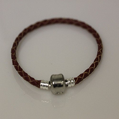 "6.5"" High Quality Dark Red Real Leather Bracelet For European Snake Chain Charms"
