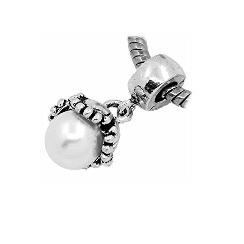 Dangle White Acrylic Pearl Flower European Bead Compatible for Most European Snake Chain Bracelet