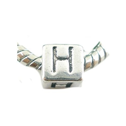 One Alphabet Block Beads Letter H for European Snake Chain Charm Braclets