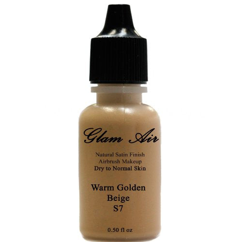 Large Bottle Airbrush Makeup Foundation Satin S7 Warm Golden Beige Water-based Makeup Lasting All Day 0.50 Oz Bottle By Glam Air - Sexy Sparkles Fashion Jewelry - 1