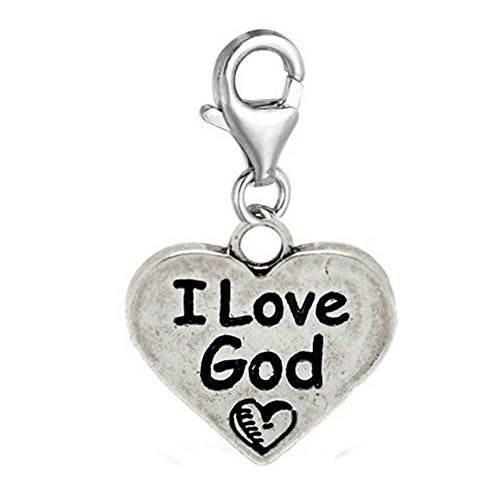 Clip on I Love God Charm Pendant for European Jewelry w/ Lobster Clasp