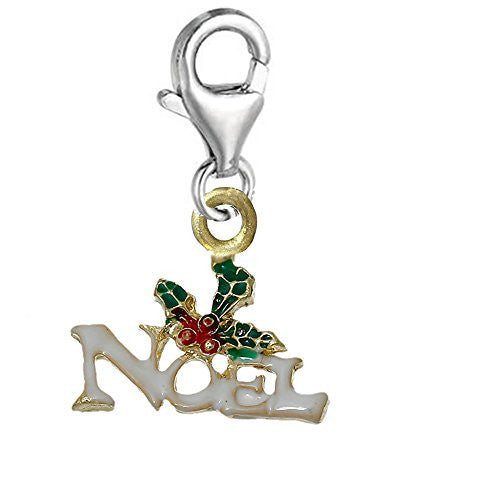 Christmas Noel Clip on Lobster Clasp Pendant Charm for Bracelet or Necklace