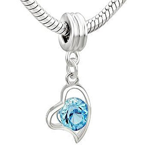 Heart Dangle w/ Crystal for Snake Chain Bracelet (Turquoise)