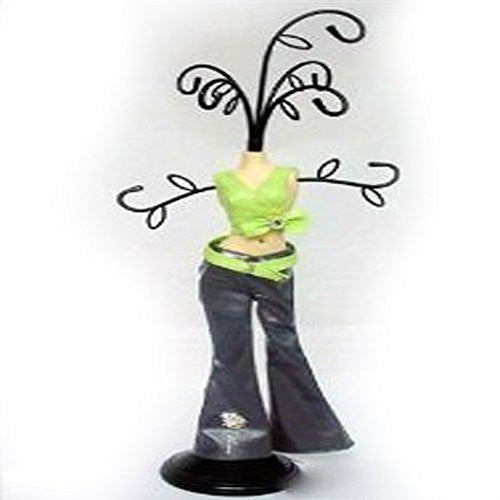 Jewelry Doll Organizer with Bright Green Shirt and Black Pants Stand Approx 12 Tall - Sexy Sparkles Fashion Jewelry