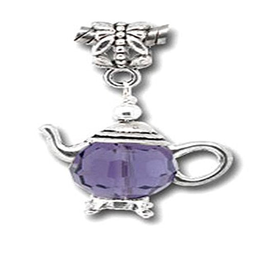 3D Silver Tone Teapot Charm Beads for Snake Chain Bracelet (Purple)