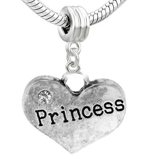 Family Hearts Charm Bead for Snake Chain Bracelet (Princess)