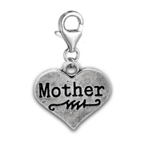 Clip on Mother on Heart Charm Pendant for European Jewelry w/ Lobster Clasp