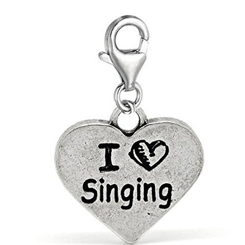 Clip on I Love Singing Charm Pendant for European Jewelry w/ Lobster Clasp