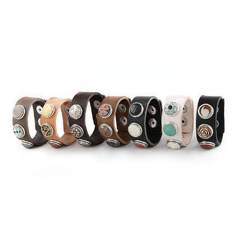 Starter Interchangeable Snap Leather Bracelet and Chunk Charm - Sexy Sparkles Fashion Jewelry - 4