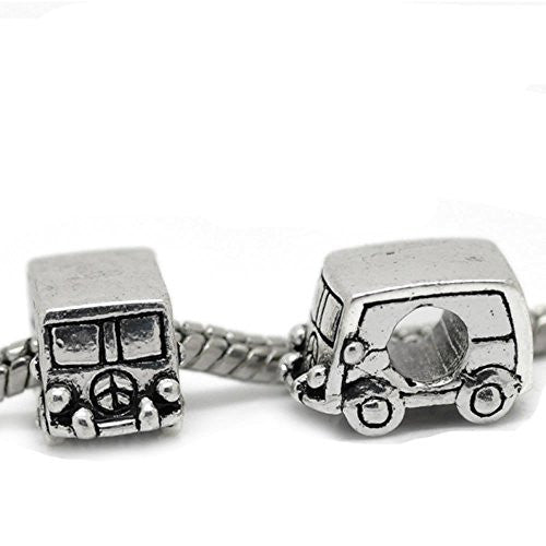 Peace Volkswagon Van Bead Charm Spacer for Snake Chain Charm Bracelet