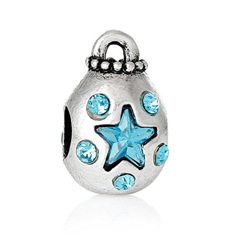 Money Bag With Blue Crystals Charm Bead Spacer for European Snake Chain Charm Bracelets - Sexy Sparkles Fashion Jewelry - 1